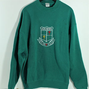 GUESS Jeans Made In USA Spell Out Green Sweater